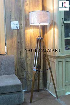 Designer Premium Quality Wooden Tripod Floor Lamp Lighting Stand Nautical Floor Lamp Home Decor NauticalMart Decor, Wooden Tripod Floor Lamp, Tripod Lamp, Floor Lamp, Lamp, Flooring, Home Decor, Wooden, Nautical Floor Lamps