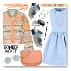 """""""Bomber Jacket & Dress"""" by brendariley-1 ❤ liked on Polyvore featuring Etro, RED Valentino, Abcense, Le Specs, Michael Kors, Napier, Givenchy and Christian Dior"""