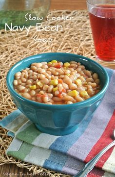 Slow Cooker Navy Bean Soup is comfort food to the max and has the quality and flavors for all ages. Vegan and Vegetarian Crock Pot Soup, Crock Pot Slow Cooker, Crock Pot Cooking, Slow Cooker Recipes, Crockpot Recipes, Cooking Recipes, Vegan Soups, Vegetarian Recipes, Healthy Recipes