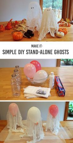 Stand-Alone Cheesecloth Ghosts: a simple Halloween craft for kids - Such a great project for kids of all ages and they think it's so cool the ghosts actually stand up! #halloweendiy #halloweendecor #halloweencraft #cheeseclothghosts #kidscraft Halloween Dekoration Party, Fete Halloween, Easy Halloween Crafts, Halloween Projects, Holidays Halloween, Halloween Activities, Halloween Stuff, Halloween For Kids, Halloween Costumes