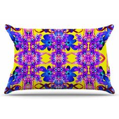 East Urban Home Tropical Orchid Dark Floral by Dawid Roc Pillow Sham Size: Standard, Color: Purple/Yellow