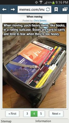 My back thanks you! Pack heavy books in rolling suite cases....kill dead space and save your back carrying heavy book boxes