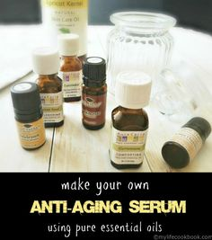This is my recipe for an anti-aging serum using pure essential oils. Apply just a little in the morning and a little at night for healthy skin.