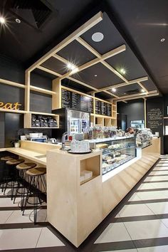 Liberateyourspace: a café formula with a quirk - hospitality design coffee shop design, cafe Bakery Design, Cafe Design, Design Design, Kiosk Design, Design Ideas, Bar Bistro, Cafe Counter, Food Counter, Deco Restaurant