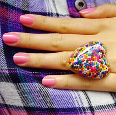 Yummy Heart Sprinkle Ring - Adjustable  Made with real colorful sprinkles, adjustable ring and lots of LOVE!!!      #resin #jewelry #ring #cute #sprinkle #rainbow #fairy kei #etsy #colorful