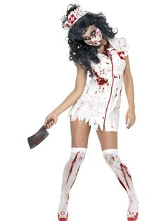zombie nurse scary horror bloody halloween fancy dress costume women ebay - Bloody Halloween Masks