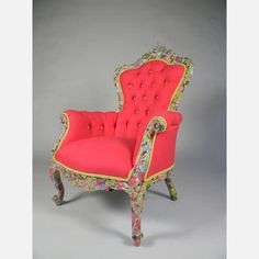 Queen Anne-style chair with pink upholstery and decoupage frame