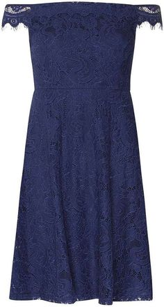 Petite Navy Lace Bardot Prom Dress