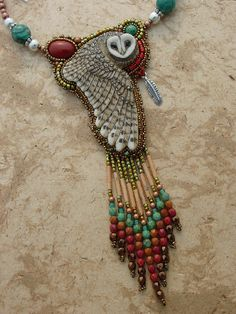 Porcelain owl with jasper and turquoise - Beadwork by Heidi Kummli