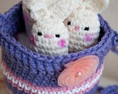 Crochet purse with bunnies inside! :) Made by me: Michelle Morales (Lina Marie Dolls)  www.linamariedolls.etsy.com