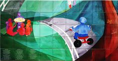 """Custom Printed Tile Mural of Painting - ceramic tile wall mural on 6"""" custom printed tile. Watercolor painting reproduced on tile mural has a washable glaze finish. By Custom Tiles, LLC in Virginia, custom-tiles.com"""