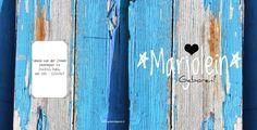 Achterkant/Voorkant stoer geboortekaartje meisje blauw hout, vk