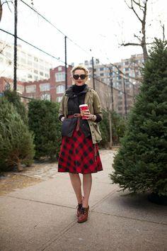 Baffalo plaid skirt, heeled oxfords, belted puffy vest