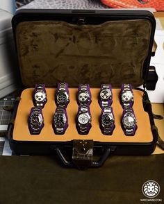 Stunning bespoke handmade @attilaaszodi retro-fitted interior for a Zero Halliburton attaché containing around usd $2,000,000 of vintage Rolex Submariners, Daytonas and Milgauss'