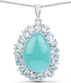 Ethically Mined Natural 13.28CT Minty Blue Green Amazonite & Blue Topaz Pendant Necklace  #bridesoflondon #weddingday #bride #wedding #bestfriend #special #anniversary #brides #shop #bridal