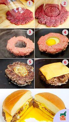 Forma diferente de se fazer um sanduíche, faça seu próprio hamburguer de carne moída faça um buraco no meio e leve para fritar, depois de um tempinho acrescente um ovo no buraco, frite bem os dois lado, acrescente queijo e o que mais desejar e pronto