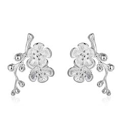 silver earrings for women bloom drop brincos bijoux femme SMTE658
