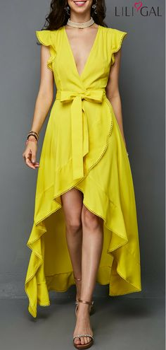 V Neck Picot Trim Yellow Maxi Dress   #liligal #dresses #womenswear #womensfashion