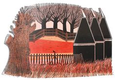 """Rare linocut by Robert Tavener just added to gallery. """"Trees & Oast Houses (morning)"""" from 1970 hand printed by Robert Tavener. House Quilts, Online Gallery, Vintage Posters, Illustration Art, Illustrations, Printmaking, Screen Printing, Modern Art, Trees"""