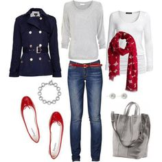 I like the jacket, red accents and white long sleeve shirt.