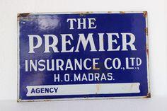 #vintage #signboard #antique #collectible #premierinsurance #madrasagency #prachinart