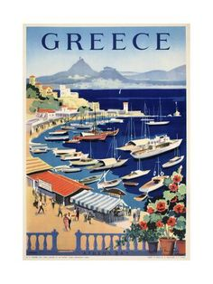 Pacifica Island Art Greece (Grece) - Athens - Bay of Castella - Vintage World Travel Poster x Vintage Tin Sign Poster Retro, Poster S, Poster Prints, Photo Vintage, Vintage Art, Collage Vintage, Old Posters, Travel Ads, Travel Tourism