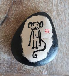 猴 Hóu (Monkey) [Created: February 12, 2021]   1 of 12 Chinese zodiac painted rocks February 12, Chinese Zodiac, Rock Painting, Painted Rocks, Monkey, Photo And Video, Collection, Jumpsuit, Stone Painting