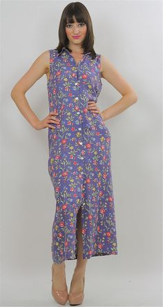dd6f9332edf 90s Button up maxi Dress Long Floral Grunge Maxi High waisted Print Revival  1990s Boho Vintage