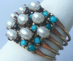 Vintage 14k Yellow Gold Turquoise Pearl by UniqueRepeatsJewelry