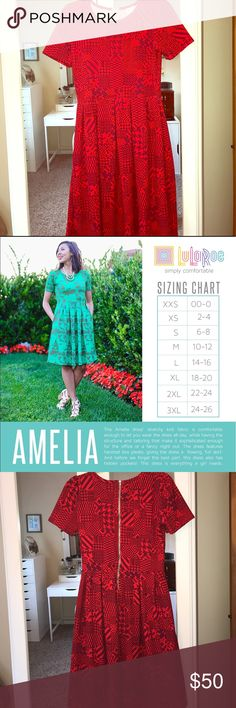 LulaRoe Amelia dress Vibrant red patterned Amelia style dress with pockets. New without tags in new condition.pictures represent the color best. Please see size chart for reference LuLaRoe Dresses