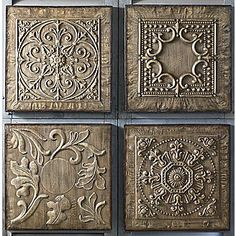 Embossed metal is lightly washed with brown stain to capture the look of antiquity. Set of as shown; Pewter Art, Pewter Metal, Metal Projects, Metal Crafts, Aluminum Foil Art, Metal Tape, Embossing Techniques, Metal Embossing, Tin Art