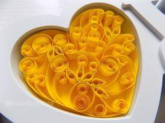 wedding prop yellow heart paper quilled love by WonderCraftShop