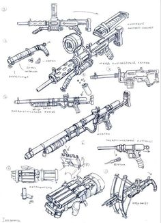 weapons 36 by TugoDoomER on DeviantArt Steampunk Weapons, Sci Fi Weapons, Weapon Concept Art, Weapons Guns, Fantasy Weapons, Military Weapons, Fallout Weapons, Armas Ninja, Post Apocalypse