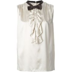 Dolce & Gabbana Bow Tie Ruffle Blouse ($282) ❤ liked on Polyvore featuring tops, blouses, sleeveless blouse, white bow tie blouse, white blouse, white tops and frilly blouse
