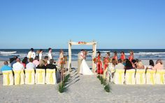 Complete Beach Weddings - St. Augustine Beach Wedding. This yellow beach wedding is a great way for you to add a touch of tropical to your St.Augustine tropical wedding.