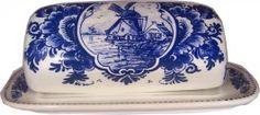 Delft Blue Butter Dish, Windmill.