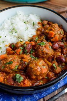 Amazing Indian Spiced Lamb Meatball and Bean Curry with a delicious flavoursome sauce, perfect with a variety of sides and suitable for freezing. Gluten Free, Dairy Free, Slimming World and Weight Watchers friendly | www.slimmingeats.com