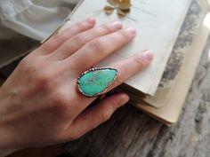 Chrysoprase ring 12 size US gemstone ring by MARIAELA on Etsy