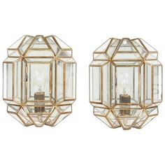 Pair of Brass and Glass Facetted Wall Lights 1