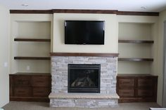 Custom Fireplace Built In Shelves Living Room, Fireplace Tile Surround, Custom Fireplace, Modern Furniture, Honey, Building, Decoration, Home Decor, Ideas