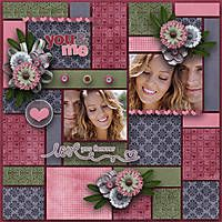 """You and Me"" - lovely page. Great use of scraps and love the color combo here."