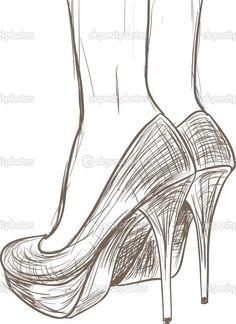 Dibujo vectorial de tacon Old varieties of vintage and vintage vintage of Grabado de tinta - High Heels Fashion Drawing Techniques, Drawing Tips, Drawing Sketches, Painting & Drawing, Shoe Drawing, Drawing Drawing, Drawing Stuff, Sketching, Woman Drawing