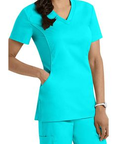 White Cross Allure V-neck Scrub Tops Healthcare Uniforms, Medical Uniforms, Scrubs Uniform, Medical Scrubs, Nursing Clothes, White Crosses, Scrub Tops, Lovely Dresses, Dress Patterns