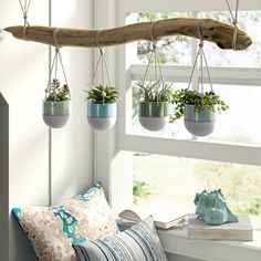 House Plants Decor, Plant Decor, Plants In Bedroom, Plant Rooms, Metal Hanging Planters, Outdoor Wall Planters, Concrete Planters, Rustic Planters, Macrame Hanging Planter