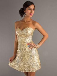 Querida incrível vestido dourado curto Bainha Sequined para Mãe de Noivas à venda