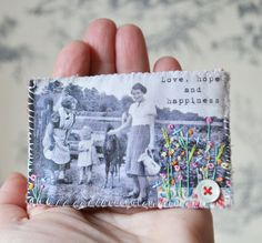 .....I'd like to see if I could try xomething like this.......BROOCH Nostalgic scene Hand embroideredflowers Love by hensteeth