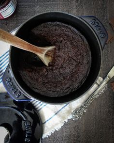 Dutch Oven Chocolate Cake with Staub- an easy, fudgy chocolate cake with a hint of Grand Marnier