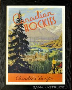 A retro vintage poster that takes you to Banff and  Lake Louise even if your body is stuck in New York, Mumbai, Beijing, Manila, Toronto, or wherever. Takes you back in time, too, since this is from the 40's or 50's. Enjoy the Canadian Rockies,  stay at the Fairmont Hotel, ride the Canadian Pacific Railway.
