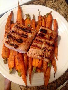 Paleo dinner. Paleo roasted cumin carrots and paleo salmon dish.