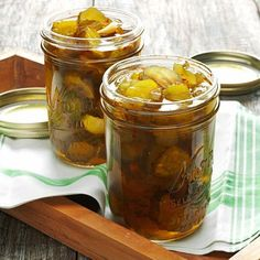 Fire-and-Ice Pickles Recipe -These sweet and spicy pickles are great on a sandwich or all by themselves as a snack. The recipe is an easy way to dress up store-brought pickles and make them a special treat! —Myra Innes, Auburn, Kansas